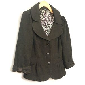 Maurices Petal Collar Blazer 3/4 Sleeve Brown